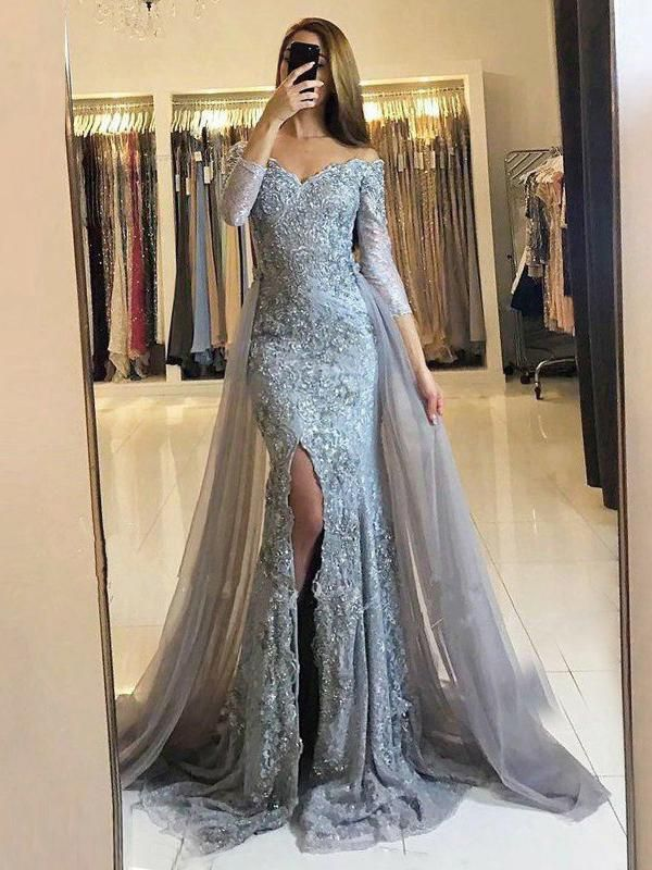 6f676a9e7b7 Trumpet Mermaid Off-the-shoulder Prom Dress With Lace Silver Prom Dresses  Long Evening Dress AMY1733