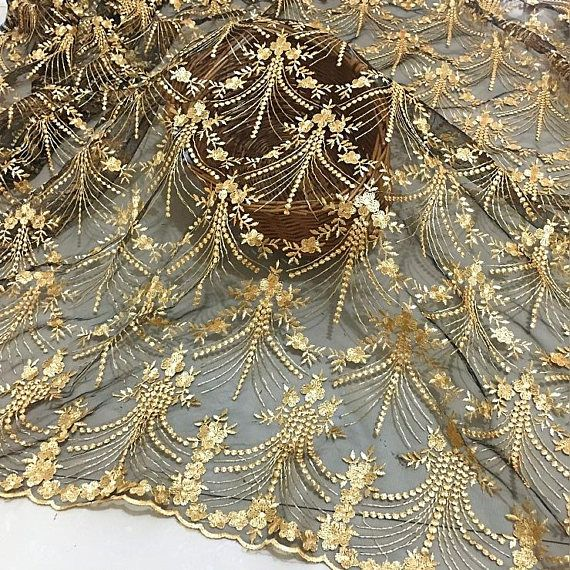 Gold Lace Fabric champagne bridal lace Gold Floral