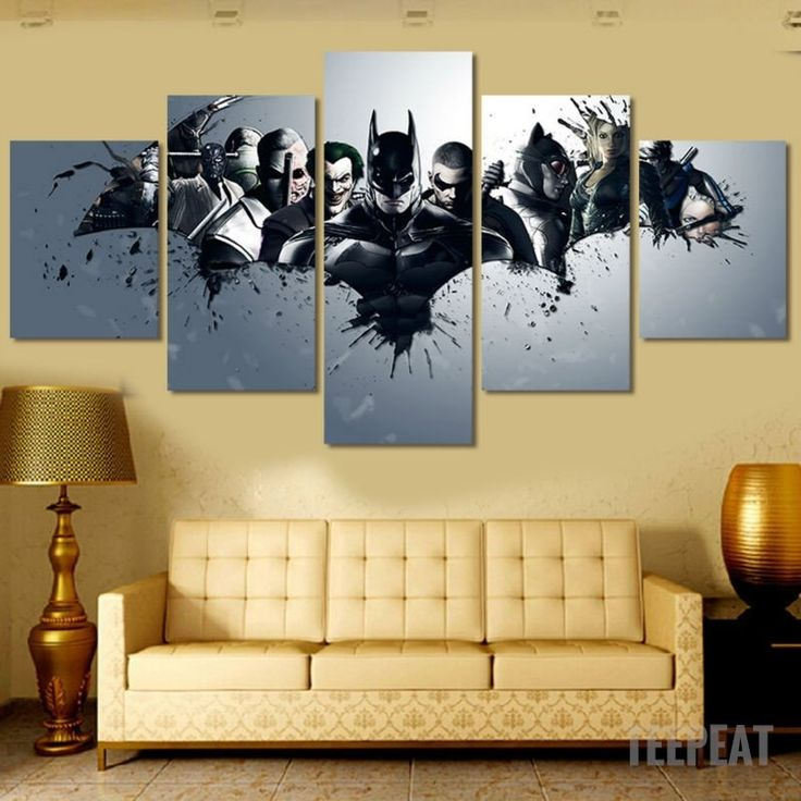 Batman And Villains - 5 Piece Canvas - The Nerd Cave - 1 #prints #prntable #painting #canvas #empireprints #teepeat