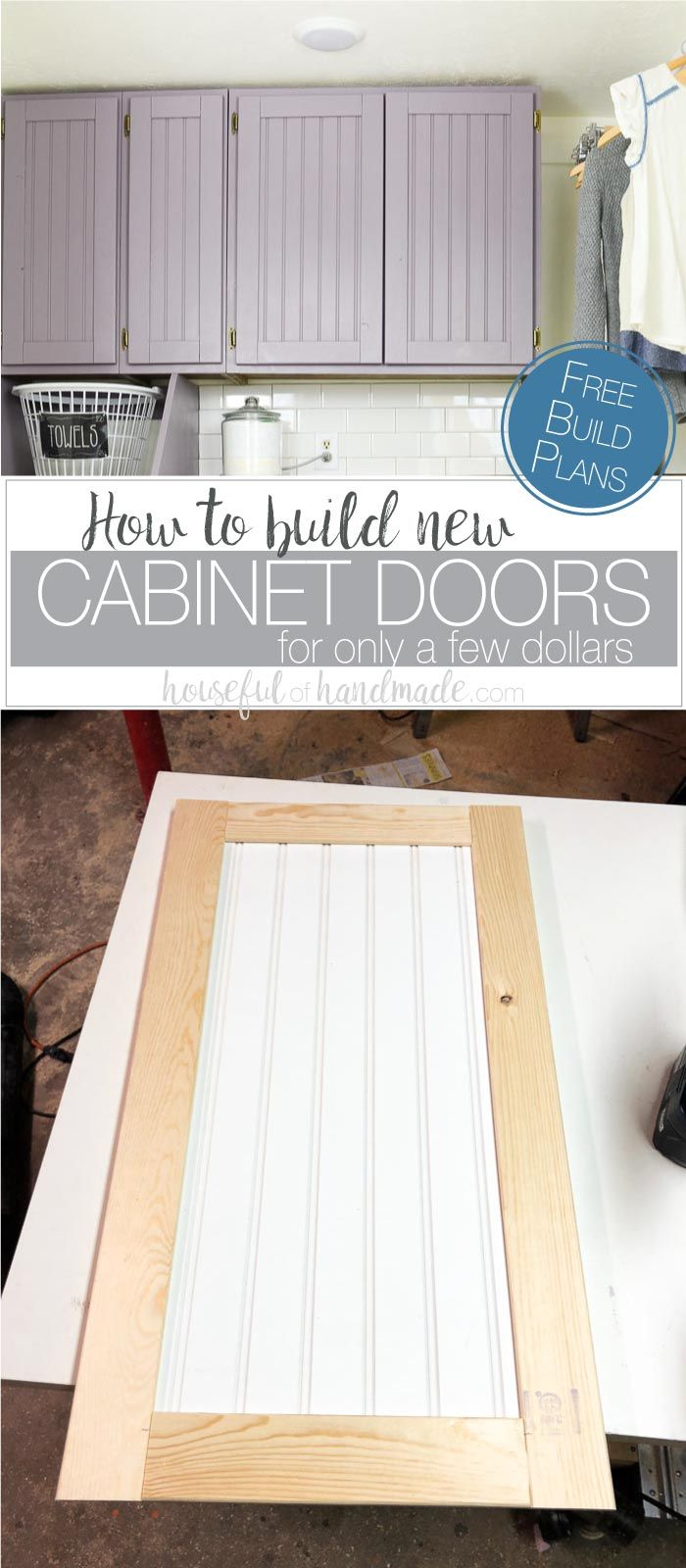 Have you ever wanted to update your old cabinets but don't have lots of money? With just a few tools and some know how, you can build cabinet doors very easily and inexpensively. These DIY shaker style cabinet doors were built for the laundry room for only $8 and some left over beadboard. Follow along as I share all the details to help you update those old cabinets too. Housefulofhandmade.com