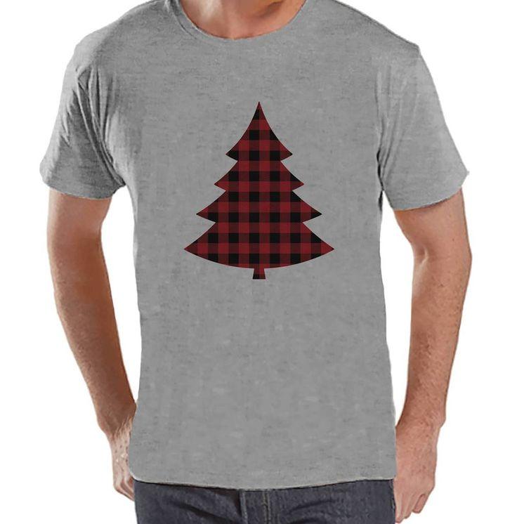 Mens Christmas Shirt - Plaid Tree Shirt - Christmas Present Idea for Him - Family Christmas Pajamas - Grey T-shirt Tee - Christmas Gift Idea
