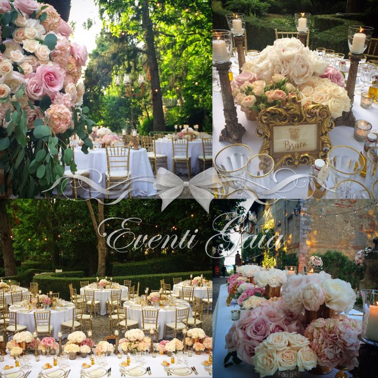 Wedding table set-up flowers candles gold chiavarina gold candelabra Gold & Pink Wedding hydrangea, blush pink roses, pink peonies and olive oil as placecards #wedding #tuscanwedding #goldpink #flowers