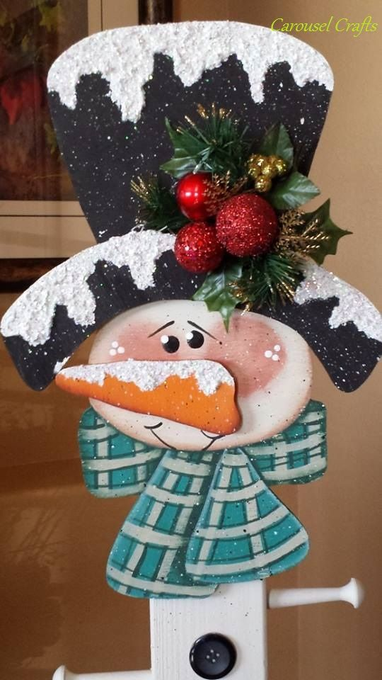 Cute Snowman Wood Craft that is the Stocking Holder Snowman.  Winter Craft