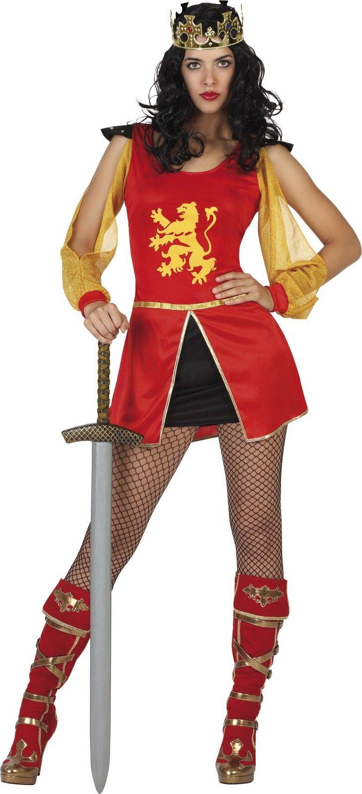 Ridder kostuum voor vrouwen Echt leuk   Dit ridder pak voor dames bevat een jurk.  Let op: Kroon, panty, zwaard en schoenen niet inbegrepen.   De jurk is rood en kunt u gemakkelijk over het hoofd aantrekken.  Een goudkleurige rand is aanwezig aan de taille.  De onderkant van de jurk is twee kleurig: rood en zwart.  Een leeuw is geprint op de borstkas.   Zeer mooi voor een middeleeuws thema avond!