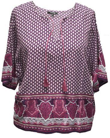 Walmart, George Women's Kimono Sleeve Popover Top, Purple, $17.97, • Material : 100% Rayon  • Kimono sleeve • Border print • Tassel trim  • Washable