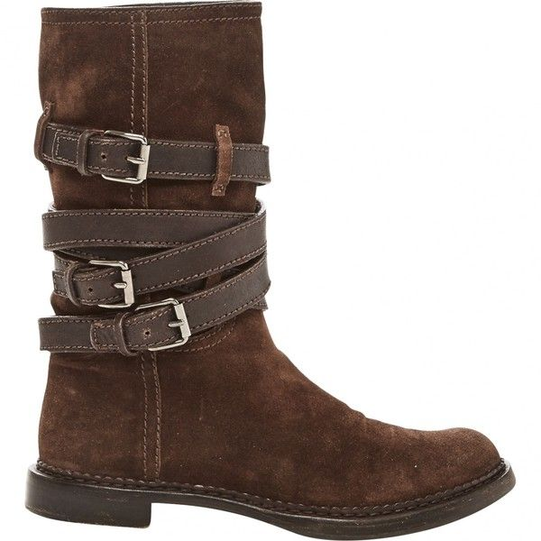 Pre-owned Miu Miu Motorcycle Boots ($292) ❤ liked on Polyvore featuring shoes, boots, brown, women shoes boots, brown biker boots, brown motorcycle boots, engineer boots, brown moto boots and pre owned shoes
