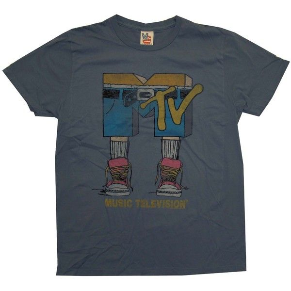 MTV Music Television Jean Shorts Logo Vintage Style Junk Food Adult... ($25) ❤ liked on Polyvore featuring tops, t-shirts, shirts, tees, t shirts, blue shirt, vintage style tops, logo tops and logo shirts