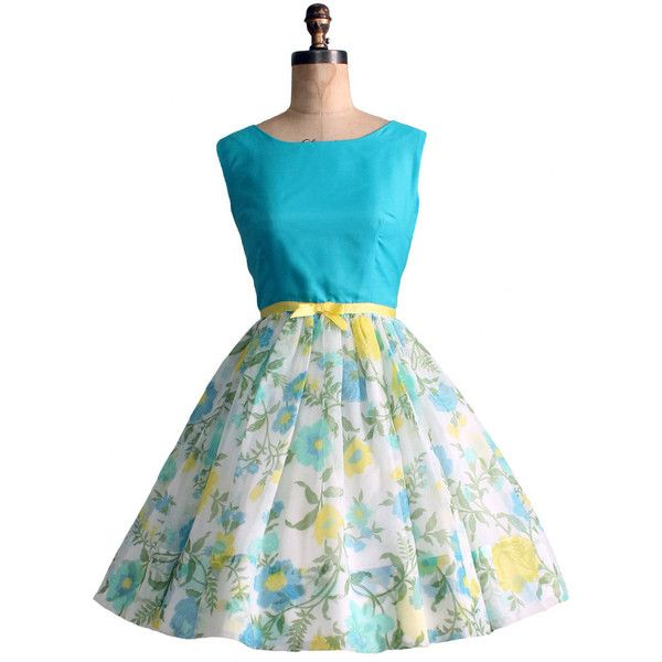 Vintage 1960s Blue and Yellow Summer Party Dress ❤ liked on Polyvore featuring dresses, plus size dresses, blue cocktail dresses, plus size floral dresses, yellow summer dress and plus size summer dresses