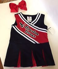 NWT NFL Houston Texans Toddler Girls Cheerleader Dress and Bow Sizes 2T