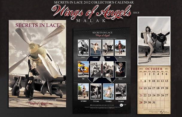 """December 2011  Secrets In Lace Calendar        Secrets In Lace another sponsor of """"Wings Of Angels"""" supplied the Lingerie for the project and put out this gorgeous calendar featuring the photography of Michael Malak of Malak Photography.  A portion of the proceeds will go to The Wounded Warriors Project! Sponsored in part by LTW Custom Cosmetics.  We created The Pin Up Collection exclusively for the project.  All models in both the calendar and the book are wearing the line.  Check out Miss…"""