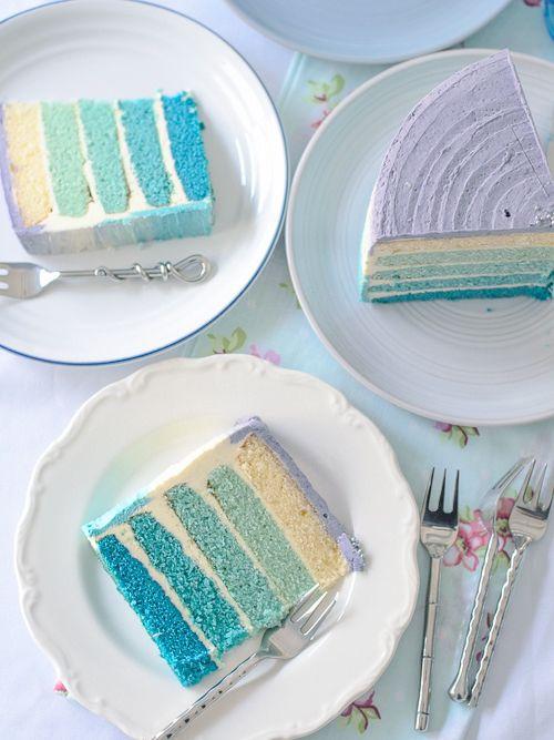 cinnahearts: Blue Ombre Birthday Cake (by Lisa Lemony Kitchen)
