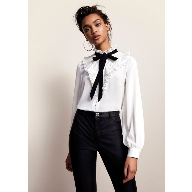 Crepe fabric Pleated frill neck detail Contrast pussybow detail Long sleeve with buttoned cuff Button-up front Our model wears a UK 8 and is 175cm/5'9'' tall