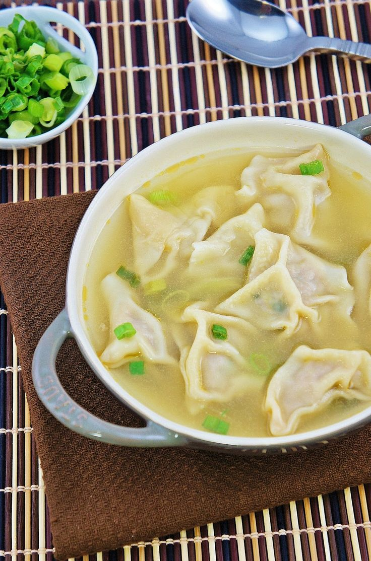 Homemade Wonton Soup | Napa Cabbage, Salt, Ground Pork, Green Onions, Ginger, Soy Sauce, Sesame Oil | Wonton Wrappers, Chicken Broth, Water, Salt, Green Onions, Rice Vinegar, Sesame Oil