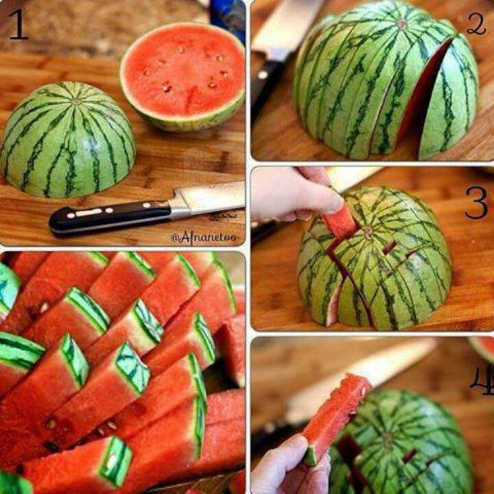 Watermelon cut this way is easy to eat and will last longer in the fridge. Genius.