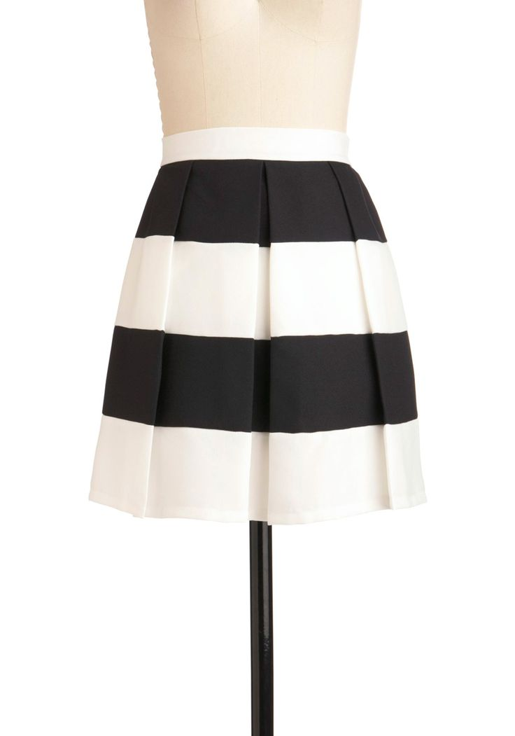 Love All Skirt - Short, Black, Stripes, Pleats, White, Party