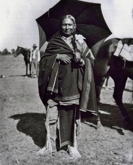 Kiowa man at the Blaine County fairgrounds in Watonga, Oklahoma - 1911