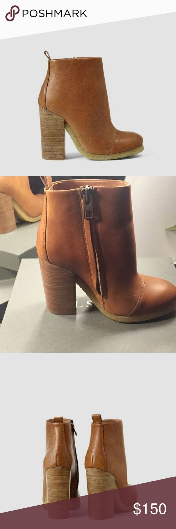 AllSaints Lakota leather boots Leather platform chunky rubber heel, side zip. Worn once, great condition! All Saints Shoes Ankle Boots & Booties