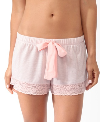 Micro-Stripe Lace Trim PJ Shorts   FOREVER21 - 2019571629