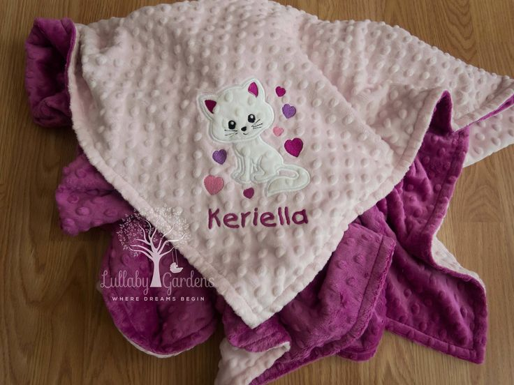 Personalized Minky Baby Blanket, Personalized Baby Gift, Cat Baby Blanket, Custom Baby Gift, Custom Baby Blanket, Baby Girl Blanket by LullabyGardens on Etsy