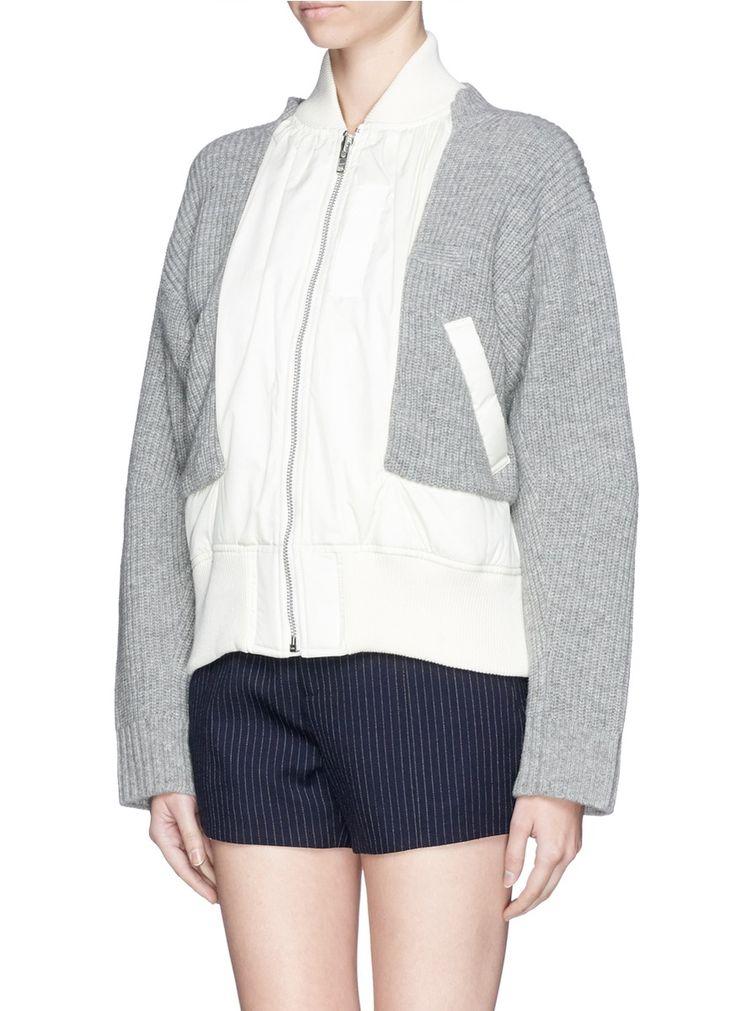 SACAI - Windbreaker front zip up cardigan - on SALE | Multi-colour Cardigan Knitwear | Womenswear | Lane Crawford - Shop Designer Brands Online