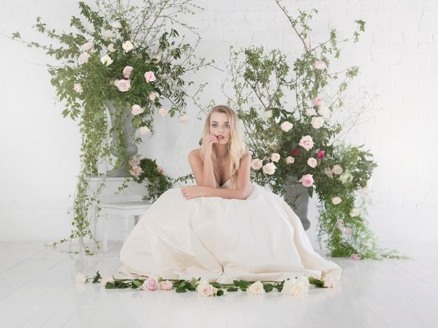 The Agatha from Charlotte Balbier's Untamed Love collection is made from pure silk and has a ruched pleated bodice and diamante detail. #weddingdresses #wedding #bridalstyle
