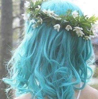 Wavy Blue Hair with Flower Crown♡ #Hairstyle #Dyed_Hair #Beauty