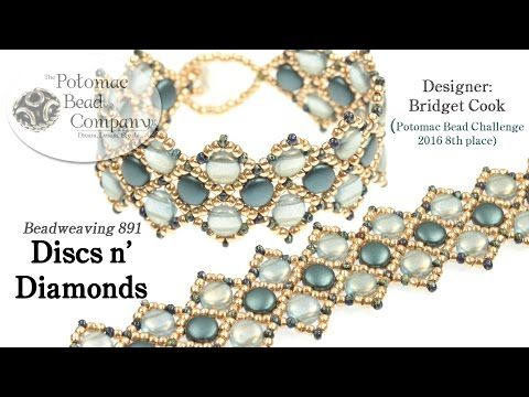 Discs n' Diamonds (Bracelet Tutorial) - YouTube (design by Bridget Cook), all supplies from www.potomacbeads.com