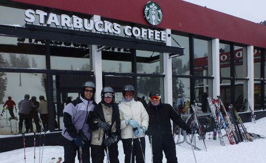 New ski-in Starbucks at Squaw Valley ski resort in California