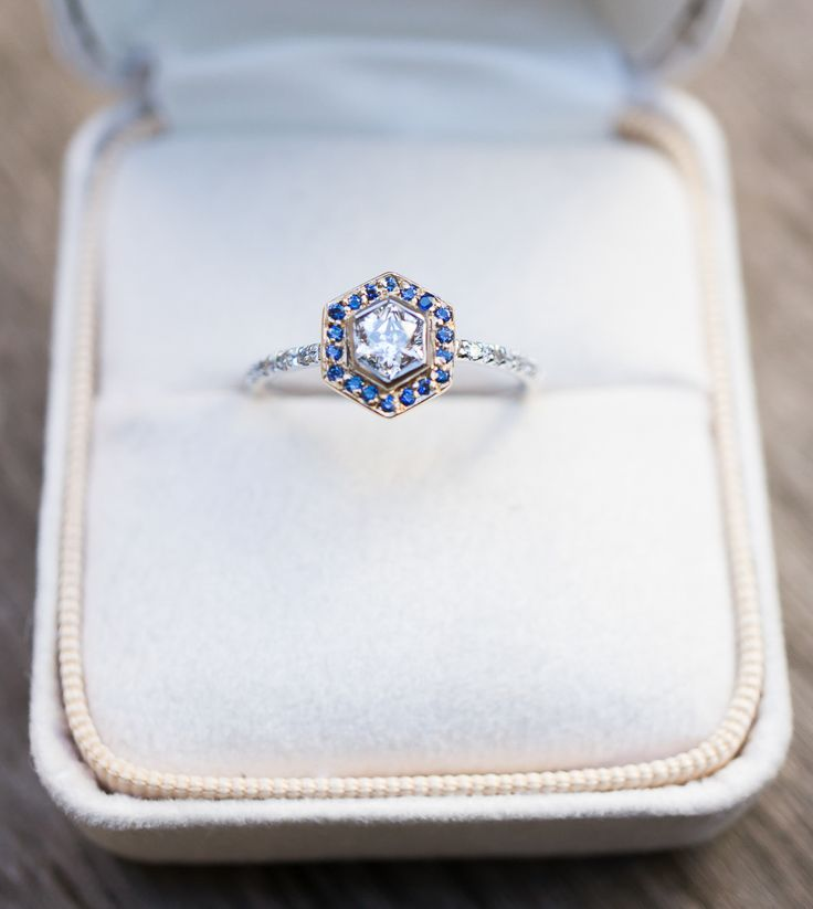 A reclaimed vintage Hexagonal Diamond sparkles in this alternative engagement ring by S. Kind and Co.