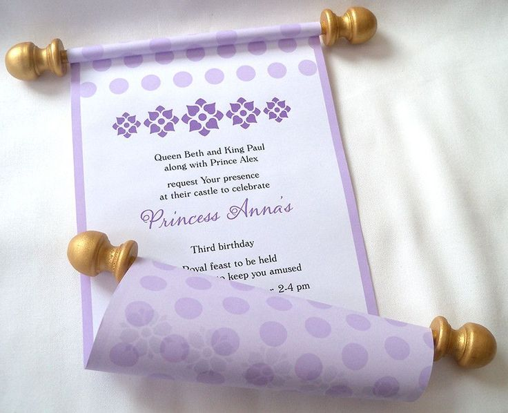 201 best Products images – Princess Scroll Birthday Invitations