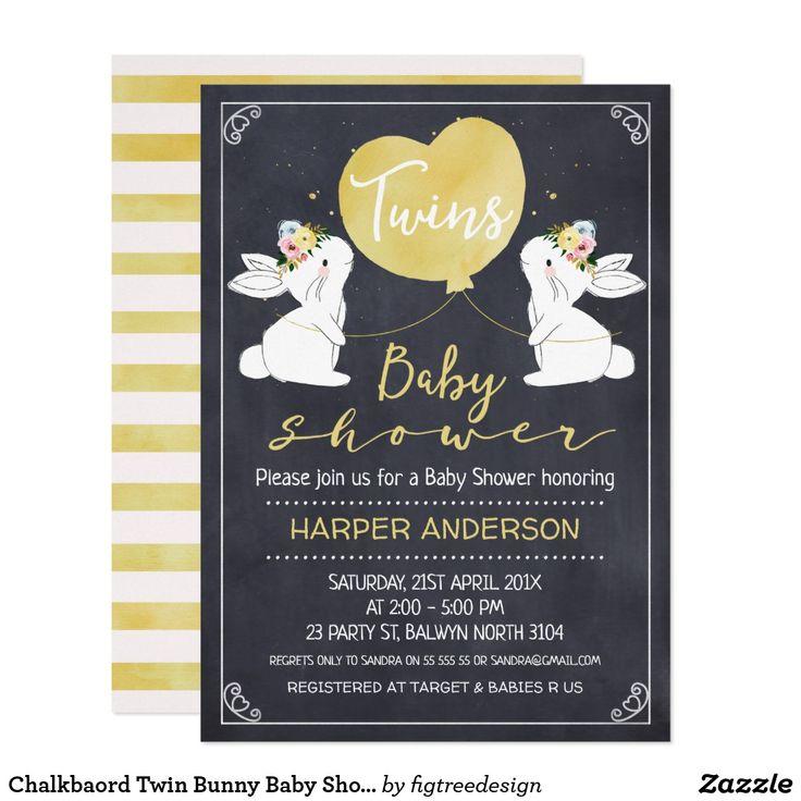 Chalkbaord Twin Bunny Baby Shower Invitation 685