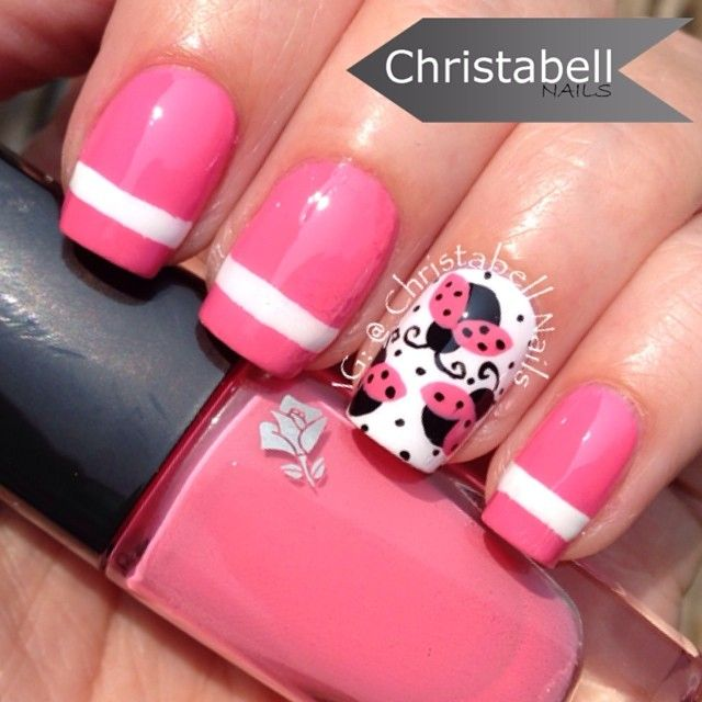 christabellnails  @missloveandswag requested a ladybug design so here is my take ... Pretty pink ladybugs  Why pink? Well, @jewsie_nails did...