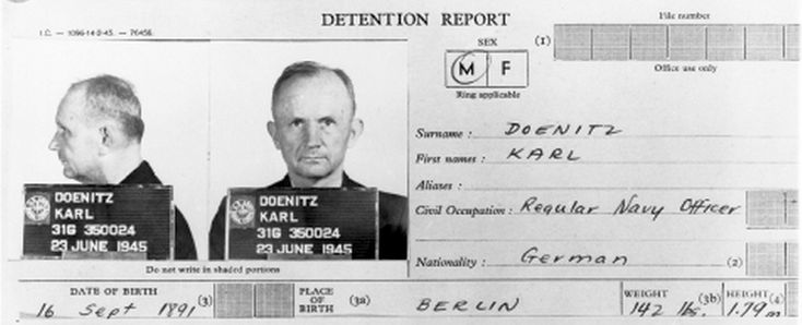 Dönitz detention report and mugshot from 1945