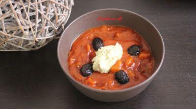 Papilles On/Off: Compotée de tomates et aubergines, crème à la rico...