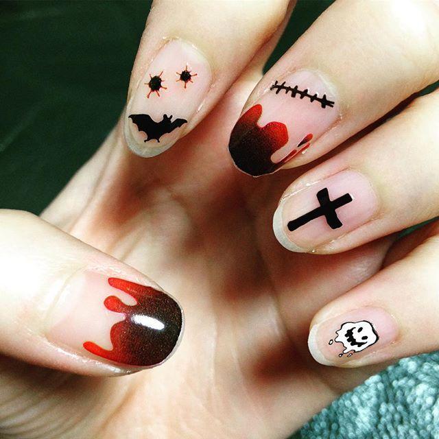 2015.10  さっきのの左手w ハロウィンの時期は1年で1番好きです♡  #ネイル #セルフネイル #ハロウィン #ハロウィンネイル #クリアネイル