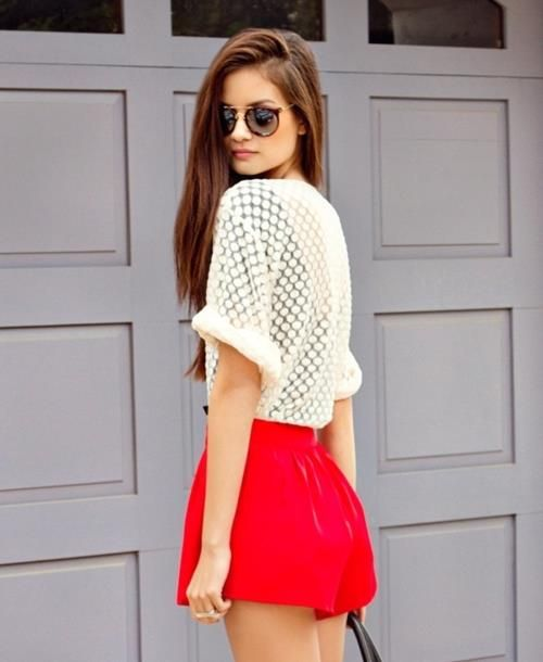 .Lace Tops, Fashion, Polka Dots, High Waist, Summer Style, White Shirts, Outfit, Red Shorts, Summer Clothing
