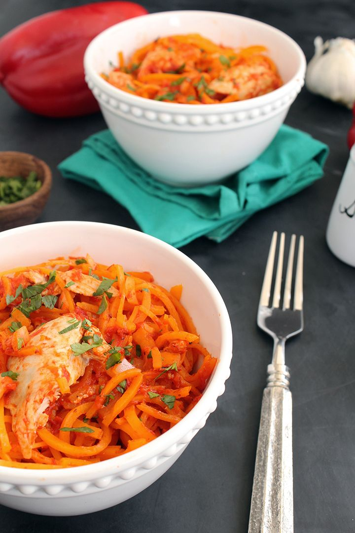 Roasted Red Pepper Butternut Squash Pasta with Chicken - I'd sub veggie broth and sauteed tofu for the chicken products.