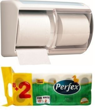Pachet promotional format din Kimberly-Clark dispenser hartie igienica 6970 si Pachet x 10 role hartie igienica 2 straturi.
