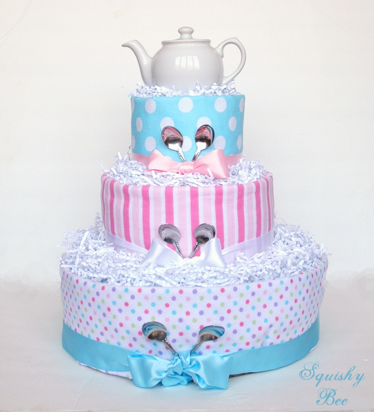 """A """"Tea Party"""" diaper cake by SquishyBee  FB: https://www.facebook.com/SquishyBee  Etsy: https://www.etsy.com/shop/SquishyBee"""