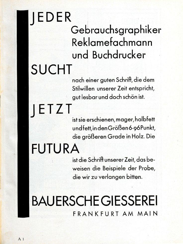 """Futura-Anzeige """"Jeder sucht jetzt Futura"""", Bauersche Giesserei  Gebrauchsgraphik, Jhg. 4, Heft 11 (November), 1927, S. 99 Gebrauchsgraphik, Jhg. 5, Heft 1 (Januar), 1928, S. 5 Gebrauchsgraphik, Jhg. 5, Heft 4 (April), 1928, S. 1 Gebrauchsgraphik, Jhg. 5, Heft 8 (August), 1928, S. 1"""