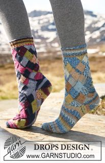 """DROPS socks with Entrelac pattern in """"Fabel"""". Foot worked in either Entrelac pattern or in stocking st and rib. ~ DROPS Design"""