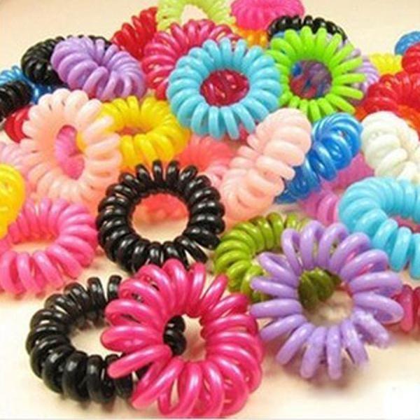 30pcs Hair Accessories Mulit-Color Elastic Headband Head Ties Hair Telephone Wire - beautifysweden