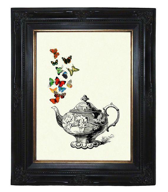 Teiera colorate farfalle Teaparty cucina Steampunk vittoriano stampa art