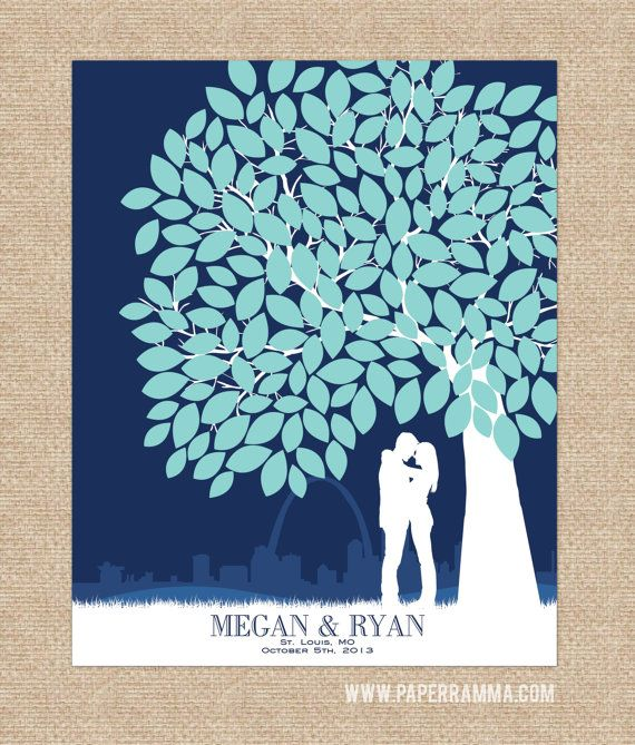 Canvas Guest Book, canvas wedding guestbook // Personalized Skyline & Silhouette Guestbook Keepsake fits up to 175+ Signatures // W-T05-1PS