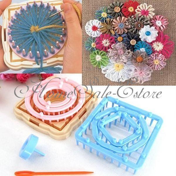 9pcs 6 Taille Métier à Tisser De Fleur Tricotins Plastique Tricot