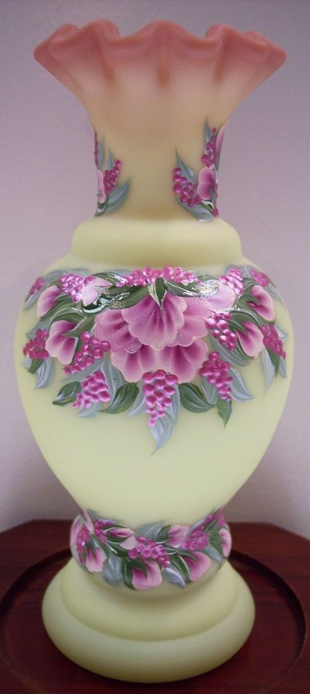 Fenton YELLOW BURMESE SATIN Vase PEACHY PINK PEONY CRESTS OOAK * FREE USA SHIP