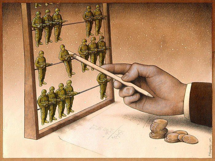 Un'amara e cinica riflessione sul valore della persona ridotto dalla guerra a mero numero e peso economico. Le ciniche illustrazioni di Pawel Kuczynski - Focus.it