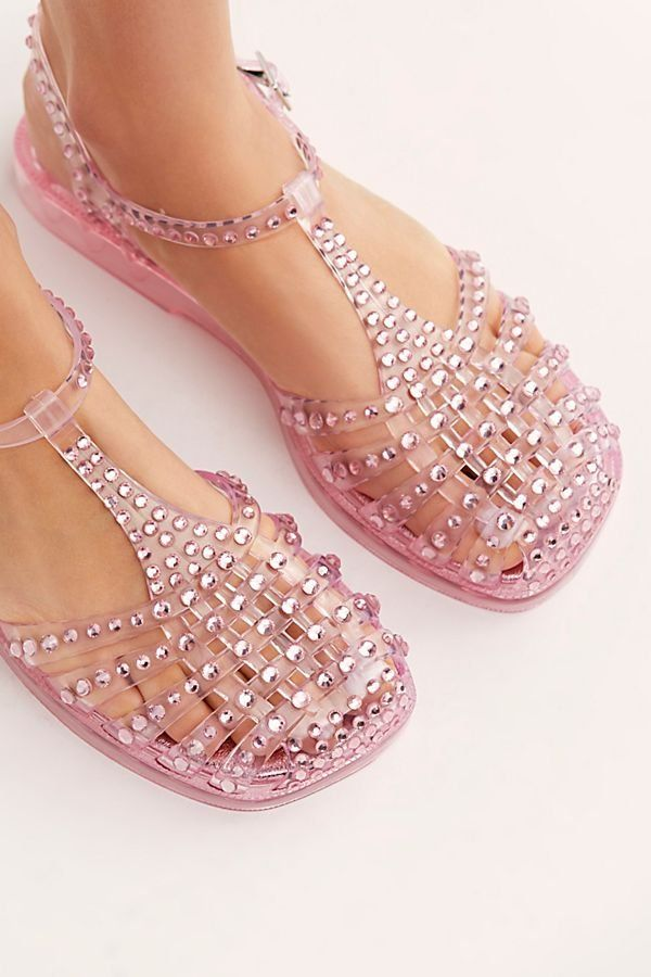 3fadfe65aebf53 Time Travel Jelly Sandal - Pink Rhinestone Jelly Sandals - Jelly Sandals -  2000s Jelly Sandals - Pink Jelly Shoes - Jelly Shoes - Retro Shoes -  Jeffrey ...
