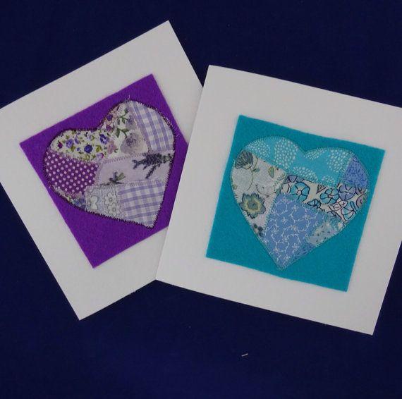Purple  heart valentines card blue Country by PolkaDotCraftsUK