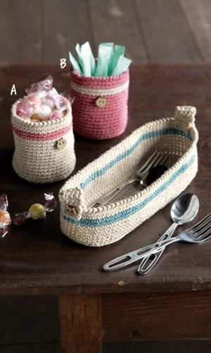 Crochet little baskets - free diagram pattern (Japanese)